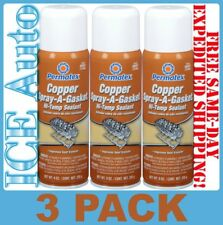 3 CANS of Permatex Copper Spray-A-Gasket Hi-Temp Sealant 80697 Net Wt 9 oz