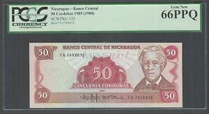 Nicaragua 50 Cordobas 1985(1988) P153 Uncirculated Graded 66
