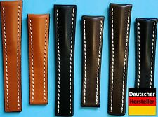 Bracelet Pour Breitling Fermoir Papillon 20 + 22mm Cuir de Russie Noir + Braun