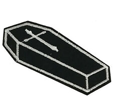 """Voodoo Coffin w Cross Embroidered Patch 4.3"""" Iron on Punk Goth Black Vampire"""