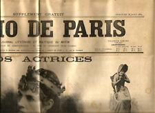 Supplément du Journal L'Echo de Paris 1894.Consacré aux actrices.RARE+++++.
