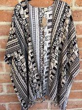 Black Elephant Beach Cover Up Coat Kimono Shirt Sleeve Boho Tribal Top S to XXL