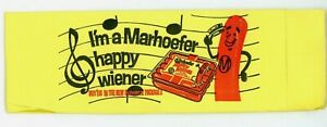 1971 Hat Marhoefer Muncie Indiana I'm A  Happy Wiener Paper Butcher's Yellow