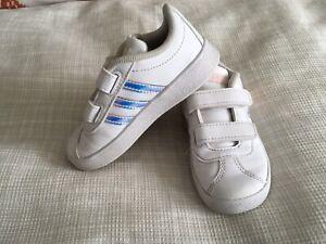 Adidas Girls Baseline Slip On Sneakers White/Hologram Toddler Size 7C