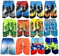Mens Hawaiian Swimming Shorts Beach swim Palm Multi Pockets Sports Mesh Trunks