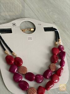 M&S Marks And Spencer's Statement Resin Link Maroon Dangle Charms Necklace NEW