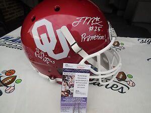 Joe Mixon and Samaje Perine signed Oklahoma Sooners OU full size helmet JSA COA
