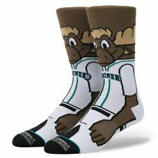 SEATTLE MARINERS Moose Mascot Stance MLB Baseball Socks Mens Large (9-12) NEW!!!