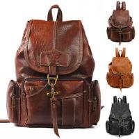Women Leather Backpack Vintage Shoulder Bag Ladies Backpack Handbag Dark/ Brown