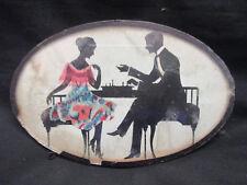 Miniatura Periodo edoardiano Silhouette in miniatura FOTO COPPIA giocando a scacchi