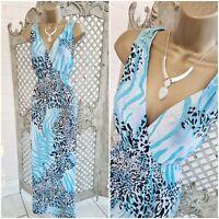 Wewa 💋 UK L Blue Leopard Print Butterfly Back Slinky Maxi Dress ~Free Postage~