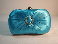 Jessica McClintock Teal Satin Clutch Purse w/Hidden Chain Strap Metal Frame