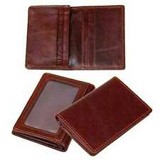 RFID Bifold Wallet Slim Brown Genuine Leather Credit Card Holder ID Window Men