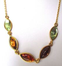 collier bijou vintage couleur or cabochon résine ambre et vert clair 593