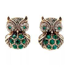 EMERALD GREEN FIGURAL OWL BIRD Couture Designer Crystal Rhinestone Gold Earrings