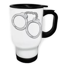 Police Hand Cuffs Bandit Criminal  White/Steel Travel 14oz Mug g225t