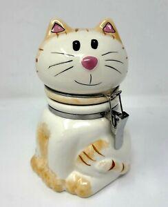 """Boston Warehouse Trading Vintage Ceramic Kitten Cat Hinged Cookie Jar 6 1/2"""""""