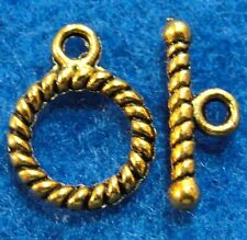 50Sets Wholesale Tibetan Antique Gold Round Twist Toggle Clasps Connectors Q0947