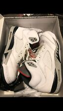 AIR JORDAN 5 RETRO WHITE CEMENT 136027-104 MEN SIZE 11WHITE UNIVERSITY RED BLACK