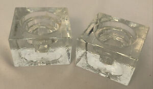 Pair Of Vintage Stylish Square Heavy Candlestick Stands / Tealight Holders