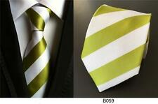 Olive Green and White Stripe Patterned Handmade 100% Silk Wedding Tie