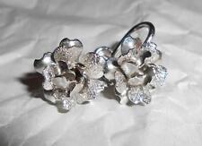 Vintage Star Art Sterling Rose Shaped Screw Back Earrings