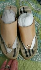 BURBERRY Summer/Spring Leather Espedrille Thong Wedge(41) 10.5 - 11