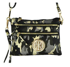 Metallic Black Grey Gold Camo Leatherette Zippered Cross Body Bag Purse Gold