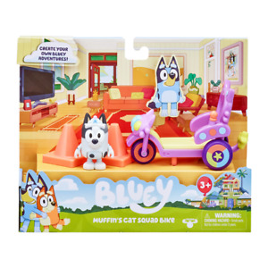 Bluey MUFFIN'S CAT SQUAD BIKE Colorful FREE-WHEELING BIKE DOG & CONES 2021 READ