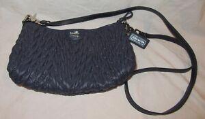 """Blue Quilted Nylon Coach Mini Hand/Shoulder Bag 11 x 7"""" Zipper Closure 70th Ann"""