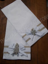 2 Frontgate Christmas Glitter Sparkle Guest  Hand Towel Towels Linen White