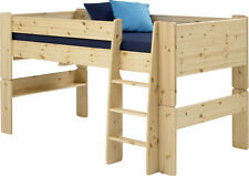 Steens Kids Mid Sleeper Bed Frame With Ladder Natural Lacquer Finish