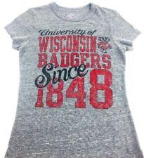 Wisconsin shirt Wisconsin Badger Tee Heather Gray shirt Women's Tee Tri Blend S