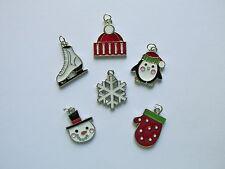 36 Enamel WINTER THEME CHARMS Christmas snowman penguin ice skate snow + FREE SH