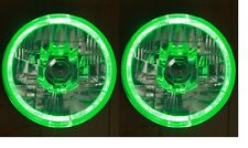 "Pair Toyota Landcruiser 40 60 78 79 series Green LED Halo 7"" Round headlights"