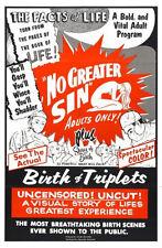 "Exploitation Film No Greater Sin Movie Poster Replica 13x19"" Photo Print"