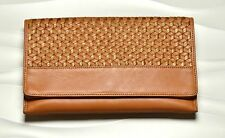 Cole Haan Parker Weave Envelope Clutch Bag Purse Genuine Leather Camello/Bronze