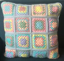 Handmade Crochet Granny Square Large Cushion Grey Pastels