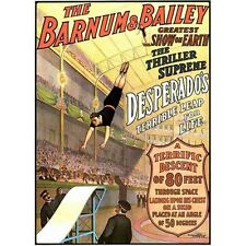 "Daredevil Desperado! Repro Barnum & Baily Circus Poster HUGE! 36x54"""
