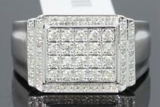 10K WHITE GOLD .66 CARAT MENS REAL DIAMOND ENGAGEMENT WEDDING PINKY RING BAND