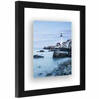 Americanflat Black Floating Picture Frame Lead Free Glass. Hanging Hardware Incl