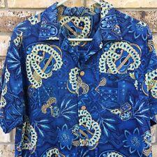 MENS WOMENS BLUE HAWAIIAN SHIRT GUITAR LEI FLORAL LARGE WOOD BUTTONS LINEN GIFT