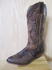 BOULET B537950 brown distressed leather western cowboy boots 8C