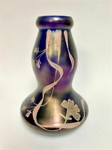 Antique Art Nouveau Iridescent Glass Vase Lotus Floral, Waisted Shape