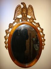 Antique Federal Period Oval Gold Eagle Mirror Extinct American Chestnut Wood