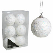 Christmas Pack of 6 White 60mm Baubles Crystal Look Sequin Polyfoam