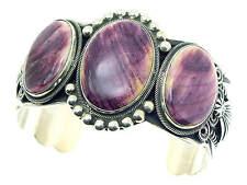Darrell Cadman, Bracelet, Purple Spiny Oyster Shell, Sterling, Navajo