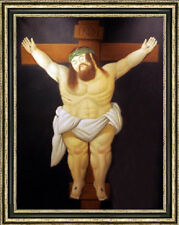 Hand-painted Oil painting Reproduction of Fernando Botero nude Jesus on canvas