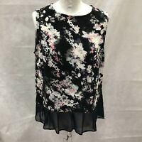 Womens Size 12 Ladies Sleeveless Black Floral Printed Top Next Outlet Casual
