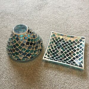Yankee Candle Large Or Medium Jar Shade & Plate Set Mosaic Aqua Blue